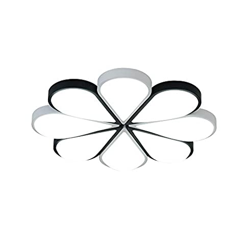 LED Round Living Room Ceiling Lights Bedroom Ceiling Light Modern Iron Simple Warm Romantic Wedding Room Flush Mount Personality Creative Acrylic Shade Scrub Painting Black and White Apart Ultra