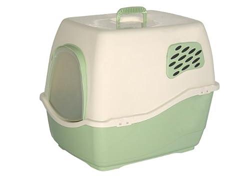 Marchioro Bill 1F Covered Cat Litter Pan with Filter, Small/Medium, Tan/Jade Green