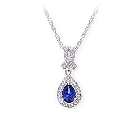 Theia Sterling Silver Drop Shape Sapphire Gem Stone Diamond Designed Pendant with 46cm Chain Necklace