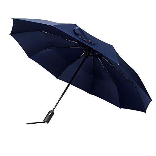 Philorn Regenschirm kompakter Auf-Zu Automatik 210T Golfschirm Taschenschirme Stockschirme Sturmfest 10 Rippen sturmfest bis 140 km/h Schirm-Tasche für Kinder, Damen, Herren 105cm (Blau, 105 cm)