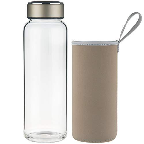 SHBRIFA Sports Glas Trinkflasche, Borosilikat Glas Wasserflasche mit Neopren-Hülle und Edelstahldeckel, 1000 Gold
