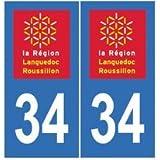 Autocollant plaque immatriculation auto département 34 Hérault