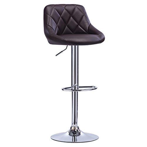 Woltu bh23br-1 sgabelli da bar sedia cucina con schienale poggiapiedi similpelle cromato altezza regolabile girevole moderni classici marrone 1 x