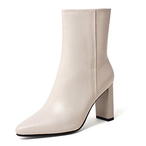 ANNIESHOE Leder Stiefeletten Damen mit Absatz Ankle Boots High Heels Beige 24.5cm -