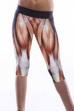 Nuovo Ladies Muscle Stampa Crop Leggings pantaloni capri Fancy vestito casual Fitness Gym Wear Club Wear taglia unica per 10-12