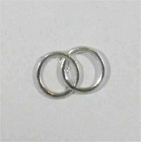Wachsmotiv Eheringe silberfarben 15x25 mm - 9622 - Wachsdekor für Kerzen (Kerze Ring)