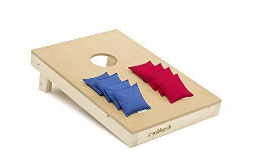 doloops Original Cornhole Spielset - EIN Cornhole Board und 8 Cornhole Bags (je 4 rote und 4 Blaue Cornhole Bags), original Deutscher Cornhole Verband Turnierausstattung