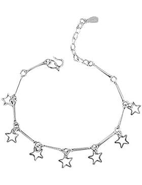 Fablcrew 925 Silber Fußkettchen Süß Kleine Sterne Fußkette Armband Exquisit Schmuck Zubehör für Damen Mädchen