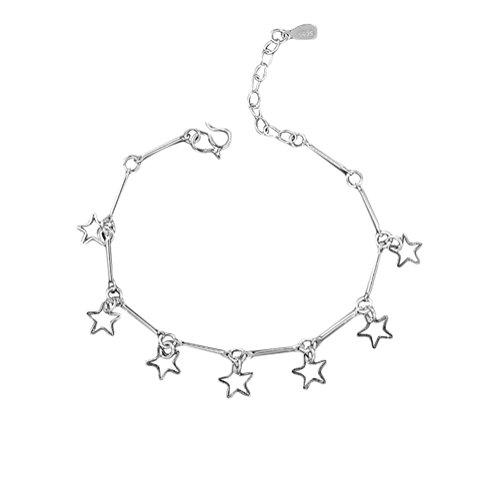Xuxuou Damen Fußkettchen Star fünfzackiger Stern Anhänger Fußkette Verstellbar Charm Knöchel Armband fußkette für Damen Schmuck mit Geschenk,Silber -