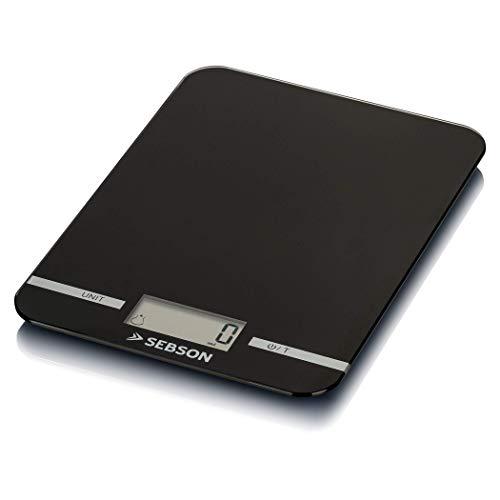 SEBSON Küchenwaage digital bis 5kg, Feinwaage 1g genau, Gramm und ml, Zuwiegefunktion (Tara), 11mm flach, große Wiegefläche 218x158mm