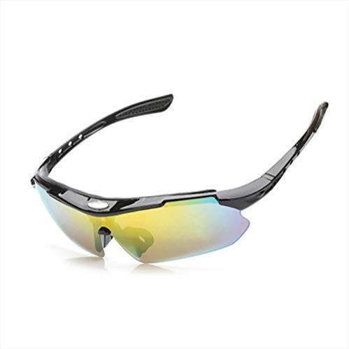 KEOA Polarisierte Sport Sonnenbrille, Fahrradbrille UV400 Schutz mit 5 Wechselgläser für Herren und Damen Radfahren Autofahren Angeln Gläser,A