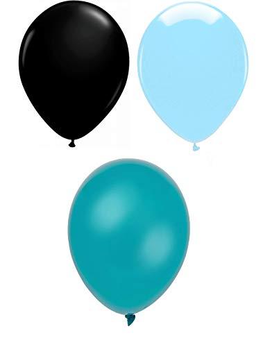 INERRA Globos - Pack of 75 Mezclado (25 X Negro & 25 X Azul Celeste & 25 X Turquesa) Látex 10' For Helio o Aire