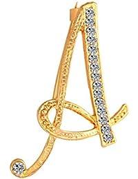 Miss charm Broche De Cartas Americanas Y Europeas/Personalidad 26 Letras del Alfabeto Inglés Oro