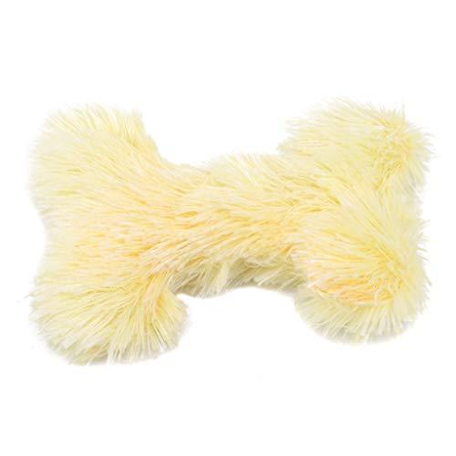 SEVENHOPE Haustier Kauen Knochen Spielen Spielzeug Schöne Kratzen Hund Welpen Katze Ziehen Kauen Fleece Spielzeug Weiche Heimtierbedarf (Gelb) -