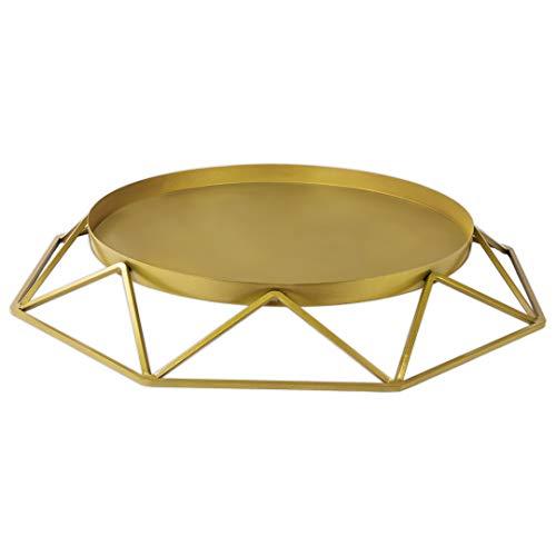 Koyal Wholesale Gold Geometrischer Tortenständer aus Metall, rund, 40 cm, rund, modernes Geo, große Etagen (Rustikale Cupcake Stand)