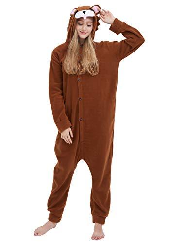 Jumpsuit Onesie Tier Karton Fasching Halloween Kostüm Sleepsuit Cosplay Overall Pyjama Schlafanzug Erwachsene Unisex Lounge Kigurumi Braun Bär for Höhe 140-187CM (Erwachsene Bär Halloween Kostüm Für)