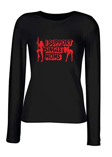 T-Shirt Langer Armel Frauen Schwarz FUN2074 i Support Single Moms -