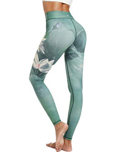 HAPYWER Damen Sport Leggings Lang Gym Trainings Jogging Hohe Taille Sporthose Stretch Yoga Hose(Lotos Grün,L) -
