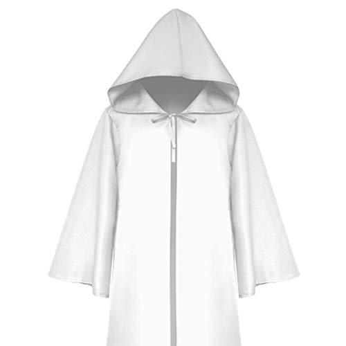 Für Erwachsenen Kostüm Schädel Ritter - GOKOMO Herren Mittelalter Ritter Gothic Retro Einfarbig Ärmel Cape Mantel Adult Weiß S