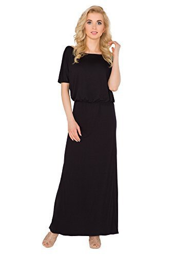 Futuro Fashion Damen Maxi Kleid U-boot-ausschnitt Kurzärmelig Land Locker  Bodycon Größen 8