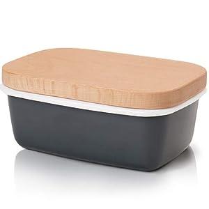 GA Homefavor Emaille Butterdose mit Holzdeckel, Grau