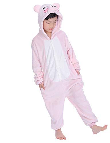 Mädchen Kostüm Schwein - DATO Kinder Pyjamas Tier Rosa Schwein Overall Flanell Cosplay Kostüm Kigurumi Jumpsuit für Mädchen und Jungen Hohe 90-148 cm
