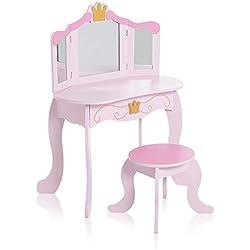Baby Vivo Coiffeuse Enfant Table de Maquillage Commode de Maquillage Vanité Meuble MDF avec Miroirs Pliable et Tabouret - Fiona