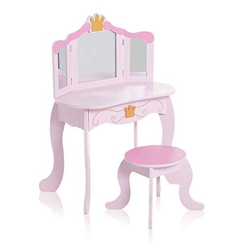 Baby vivo toeletta per bambino il trucco toeletta tavolo cosmetici specchiera mobile da trucco stile con specchi pieghevole e sgabello mdf - fiona