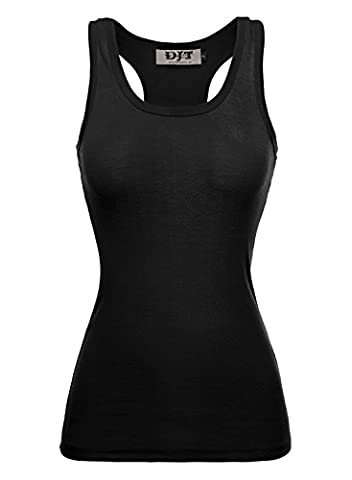 DJT Women Racer Back Ribbed Vest Tank Tops Stretch Plain Cotton Muscle Undershirt Tee T-Shirt Black