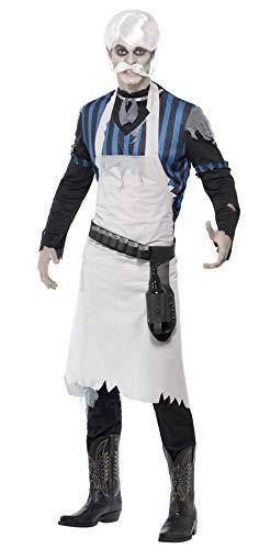 Smiffys Herren Geister-Barkeeper Kostüm, Oberteil, Ärmelhalter, Schürze und Gürtel mit Glashaltern, Größe: L, ()