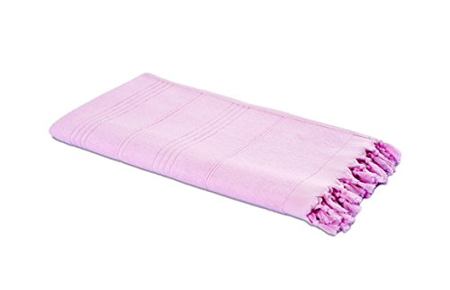 Carenesse Hamam-Tuch 2in1 rosa, Handtuch und Hamamtuch in Einem, 100{cadceadd76d350a0139a1dfe52c8ca91950572285e472877e514fe055c37c33b} Baumwolle, 90 x 190 cm, Fouta Pestemal, Saunatuch, Strandtuch, Badetuch, Turkish Towel