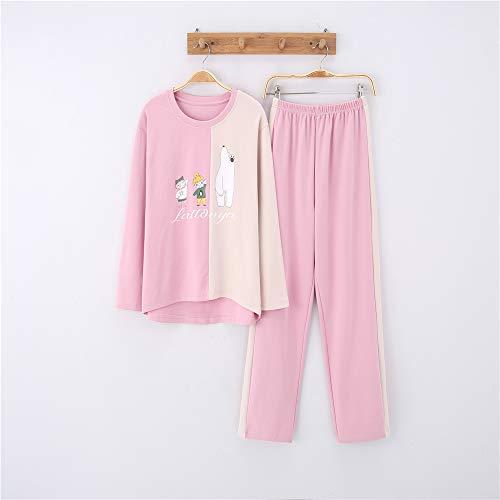 Damen Baumwolle Schlafanzug Pyjama Set Lang Zweiteilige,Paar Baumwolle Langarm Männer und Frauen Anzug zu Hause Service A-8 weiblich - Tigger Kostüm Shirt