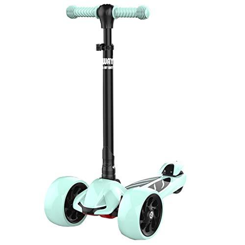 Kick Scooter für Kinder Kleinkind-Roller 2-12 Jahre alt 3-Rad max Segelflugzeug höhenverstellbar mit extra Breiten Flash-Rad lehnen Kinder Geschenk für Geburtstag, Urlaub zu lenken -