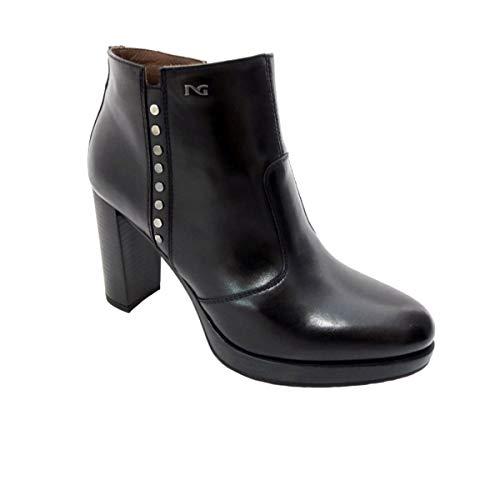 Nero giardini scarpe donna tronchetto pelle nera a806322d/100