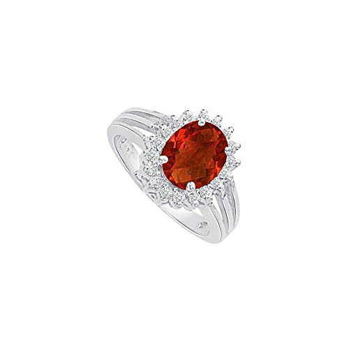2 CT Ruby and CZ Halo Engagement Ring 14K White Gold (Ruby Und Garnet Ring)