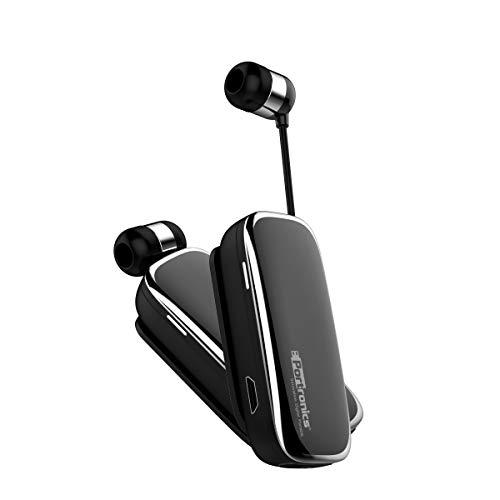 Portronics POR-205 Harmonics Klip III a Clip-On Retractable Bluetooth Headset with Mic for Hands-Free Calling, Clear Conversation, Convenient Controls (Black)