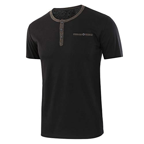 Men's Shirts Solid Short Sleeve Button O-Neck T Shirts Tops Blouses Plus Size(Black) - Hollywood Womens Long Sleeve