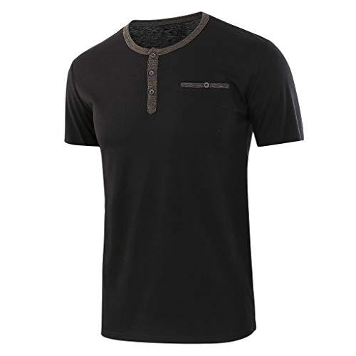 Oberteile, Mode Männer Lose Solide Baumwolle Kurzarm Knopf Oansatz T-Shirts Bluse Casual Tops ()