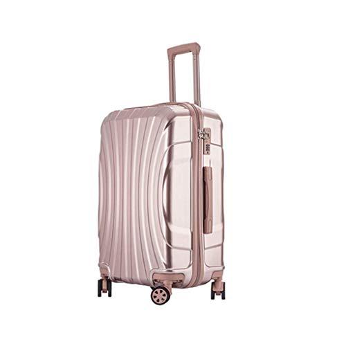 HUANGA Suitcase, Multi-funzione 24 pollici Lock Box, Trolley Studente College Retrattile - Con portabicchieri (Color : Rose gold, Dimensione : 24 inches)