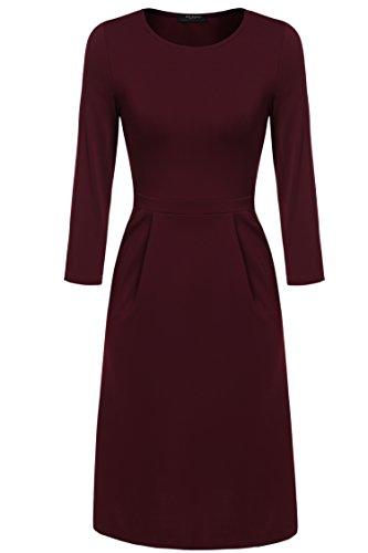 Zeagoo Damen Casual 3/4 Ärmeln Kleid Etuikleid A-Linie Kleid Rundhals Weinrot_1
