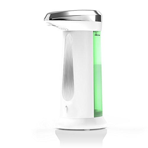 Arendo Savoni2 Automatik - Seifenspender / Seifendosierer | Neues Modell / optimierte Pumpe | Flüssigseifenspender mit integriertem Infrarot - Sensor | 340ml Fassungsvermögen | weiß / chrom