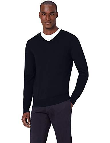 Meraki pullover lana merino uomo scollo a v, blu (navy), 50 (taglia produttore: medium)