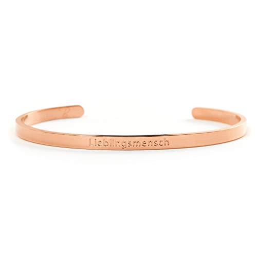 LIEBLINGSMENSCH Armreif in Gold, Silber und Rose Gold - Couple oder BFF Geschenk - Armreif Rose Gold Armband
