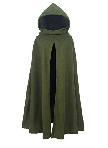 FUTURINO Damen Winter/Herbst Gotisch Lose Umhang mit Kapuze Mantel Poncho Kap Outwear Longstrickjacke, M, - Arwen Grünen Kleid Kostüm