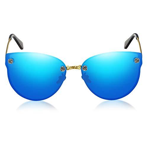 WHCREAT Mode Randlos Polarisierte Sonnenbrille UV400-Schutz für Damen mit Metall Geschnitzte Schraube (Gold Rahmen - Verspiegelt Eisblau Linse)