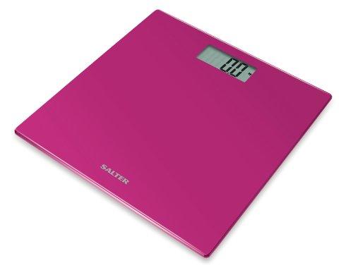 Salter Ultra Slim Elektronische Personenwaage aus Glas 9069 PK3R, pink