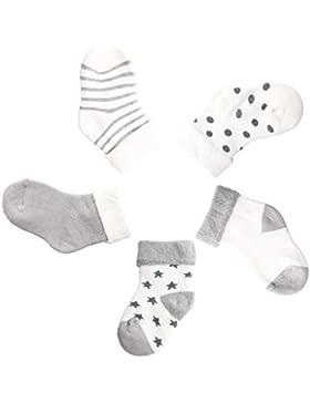 Camilife 5 Paar Baby Jungen Socken Set Babysocken Weich Baumwolle Süß und Lieblich - Gestreift Gepunktet Sternen
