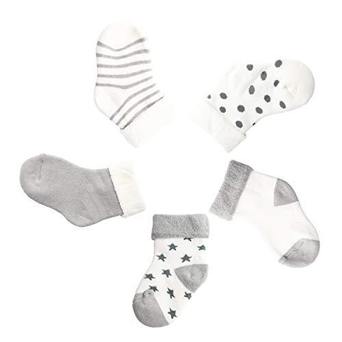Camilife 5 Paar Baby Jungen Mädchen Winter Socken Set Verdickte mit Frottee Baumwolle Babysocken Super Warm Weich - Hellgrau 0-1 Jahre alt (Für Mädchen Winter-socken)