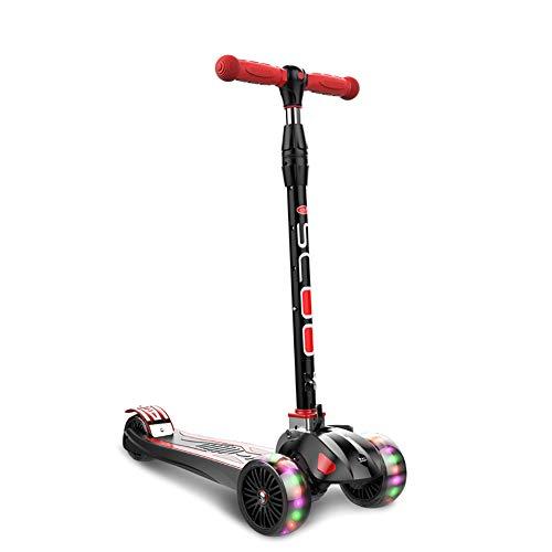 Monopattini monopattino yxx motorino di scossa di giro dei capretti neri 3, motorino piegante di altezza regolabile per le età dei bambini 2-16 anni