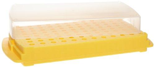 Heathrow Scientific HD2345F - Porta provette reversibile, in polipropilene, 80 pozzetti, 246 x 121 x 50 mm, confezione da 5, colore: giallo
